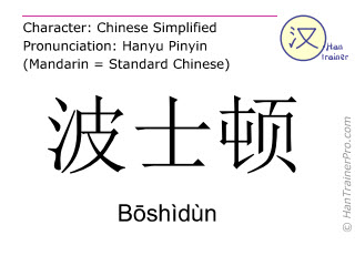 Chinese characters  ( Boshidun / Bōshìdùn ) with pronunciation (English translation: Boston )
