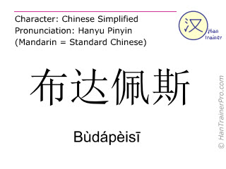Chinese characters  ( Budapeisi / Bùdápèisī ) with pronunciation (English translation: Budapest )
