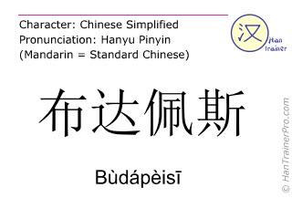 Chinesische Schriftzeichen  ( Budapeisi / Bùdápèisī ) mit Aussprache (Deutsche Bedeutung: Budapest )