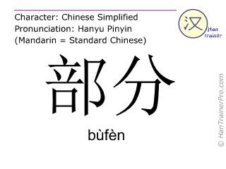 Caractère chinois  ( bufen / bùfèn ) avec prononciation (traduction française: partie )