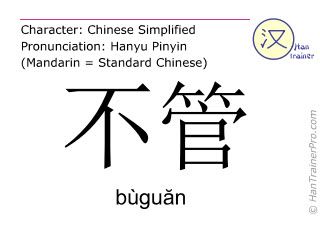 Chinese characters  ( buguan / bùguăn ) with pronunciation (English translation: no matter )