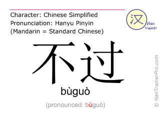 Chinese characters  ( buguo / bùguò ) with pronunciation (English translation: but )