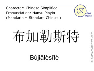 Chinese characters  ( Bujialesite / Bùjiālèsītè ) with pronunciation (English translation: Bucharest )