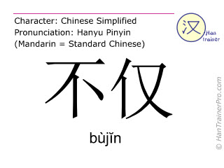 Chinese characters  ( bujin / bùjĭn ) with pronunciation (English translation: not only )