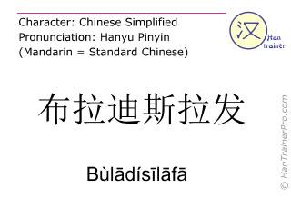Chinese characters  ( Buladisilafa / Bùl&#257dís&#299l&#257f&#257 ) with pronunciation (English translation: Bratislava )