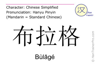 Chinese characters  ( Bulage / Bùlāgé ) with pronunciation (English translation: Prague )