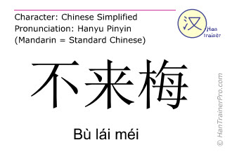 Chinese characters  ( Bu lai mei / Bù lái méi ) with pronunciation (English translation: Bremen )