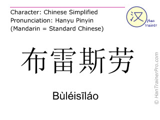 Chinese characters  ( Buleisilao / Bùléisīláo ) with pronunciation (English translation: Breslau )