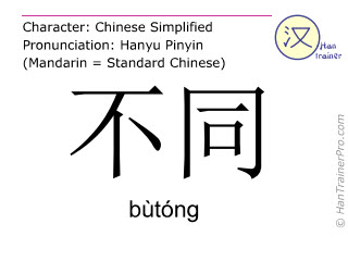 Chinese characters  ( butong / bùtóng ) with pronunciation (English translation: different )