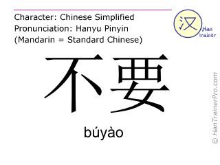 Caracteres chinos  ( buyao / búyào ) con pronunciación (traducción española: no (imperativo) )