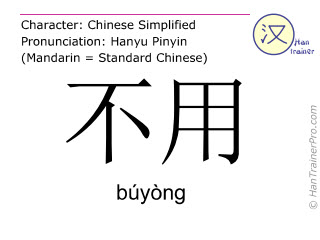 Chinese characters  ( buyong / búyòng ) with pronunciation (English translation: need not )