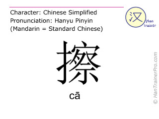 Chinese characters  ( ca / c&#257 ) with pronunciation (English translation: to wipe off )