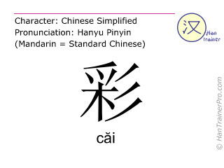 Chinese characters  ( cai / căi ) with pronunciation (English translation: color )