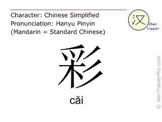 Caractère chinois  ( cai / căi ) avec prononciation (traduction française: couleur )