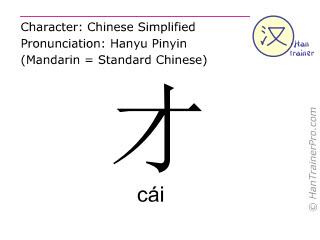 Chinesische Schriftzeichen  ( cai / cái ) mit Aussprache (Deutsche Bedeutung: gerade )