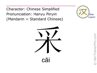 Chinese characters  ( cai / c&#259i ) with pronunciation (English translation: to pick )