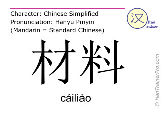 Chinese characters  ( cailiao / cáiliào ) with pronunciation (English translation: material )