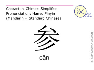 Chinese characters  ( can / cān ) with pronunciation (English translation: to enter )