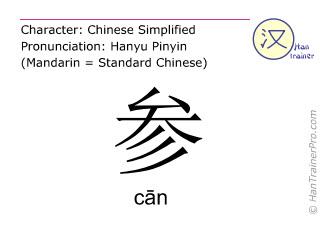 Caracteres chinos  ( can / cān ) con pronunciación (traducción española: entrar )