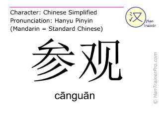 Chinese characters  ( canguan / c&#257ngu&#257n ) with pronunciation (English translation: to visit )