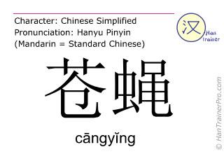 Chinesische Schriftzeichen  ( cangying / cāngyĭng ) mit Aussprache (Deutsche Bedeutung: Fliege )
