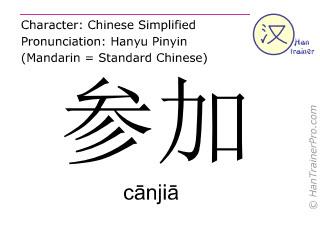 Caractère chinois  ( canjia / cānjiā ) avec prononciation (traduction française: participer )