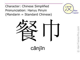 汉字  ( canjin / c&#257nj&#299n ) 包括发音 (英文翻译: napkin )