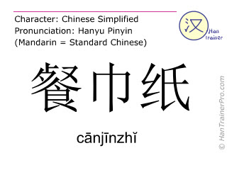 Chinese characters  ( canjinzhi / c&#257nj&#299nzh&#301 ) with pronunciation (English translation: paper napkin )