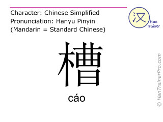 Chinese characters  ( cao / cáo ) with pronunciation (English translation: trough )