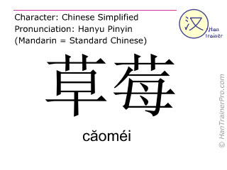 Chinese characters  ( caomei / c&#259oméi ) with pronunciation (English translation: strawberry )