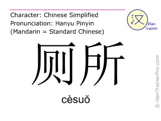 Chinese characters  ( cesuo / cèsu&#335 ) with pronunciation (English translation: toilet )