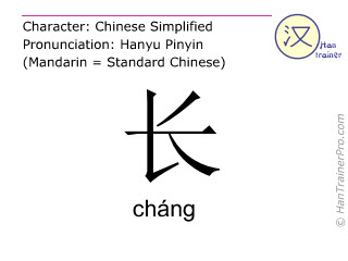 Chinese characters  ( chang / cháng ) with pronunciation (English translation: long )