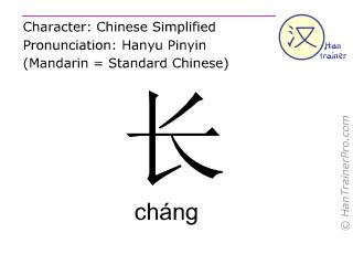 Caracteres chinos  ( chang / cháng ) con pronunciación (traducción española: largo )