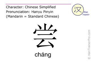 汉字  ( chang / cháng ) 包括发音 (英文翻译: to taste )