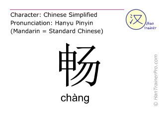 Chinesische Schriftzeichen  ( chang / chàng ) mit Aussprache (Deutsche Bedeutung: reibungslos )