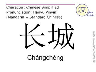 Chinesische Schriftzeichen  ( Changcheng / Chángchéng ) mit Aussprache (Deutsche Bedeutung: die Chinesische Mauer )