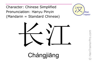 Caracteres chinos  ( Changjiang / Chángjiāng ) con pronunciación (traducción española: Río Yangtse )