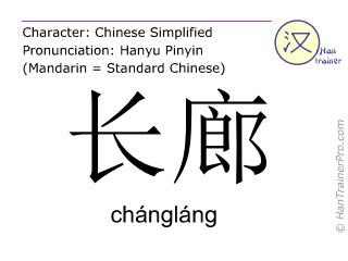 Caracteres chinos  ( changlang / chángláng ) con pronunciación (traducción española: largo corredor )