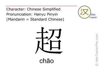 Chinese characters  ( chao / ch&#257o ) with pronunciation (English translation: super )