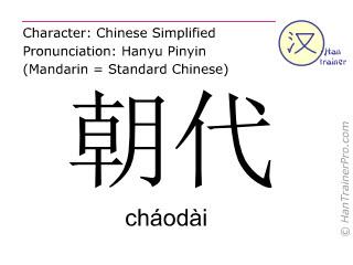 Chinese characters  ( chaodai / cháodài ) with pronunciation (English translation: dynasty )