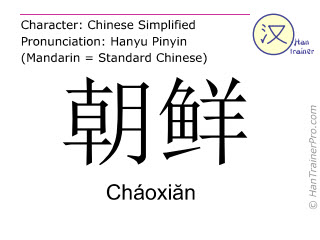 Chinese characters  ( Chaoxian / Cháoxiăn ) with pronunciation (English translation: North Korea )