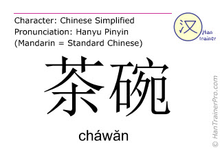 Chinesische Schriftzeichen  ( chawan / cháwăn ) mit Aussprache (Deutsche Bedeutung: Teetasse )