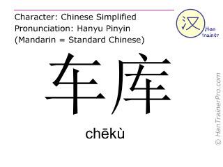 Caractère chinois  ( cheku / chēkù ) avec prononciation (traduction française: garage )
