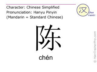 Chinesische Schriftzeichen  ( chen / chén ) mit Aussprache (Deutsche Bedeutung: erklären )