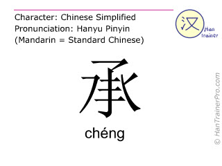 Chinese characters  ( cheng / chéng ) with pronunciation (English translation: to bear )