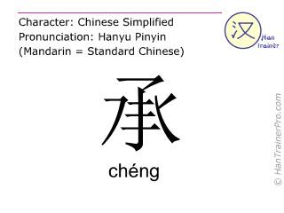 Chinesische Schriftzeichen  ( cheng / chéng ) mit Aussprache (Deutsche Bedeutung: ertragen )