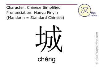 Chinese characters  ( cheng / chéng ) with pronunciation (English translation: city )