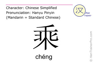 Chinese characters  ( cheng / chéng ) with pronunciation (English translation: to multiply )