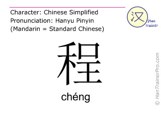 Chinese characters  ( cheng / ch&eacute;ng ) with pronunciation (English translation: <m>rule</m> )