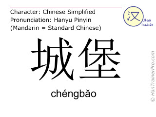 Chinese characters  ( chengbao / chéngbăo ) with pronunciation (English translation: castle )